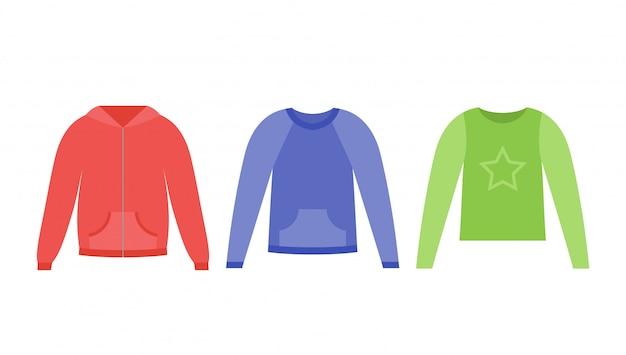 女の子用のセーター。 。ベビーパーカー。子供のジャンパー、フラットで白で隔離ラグラン。服のアイコン。漫画イラスト。カジュアルな子供モデル。服セット。アパレルスケッチ。衣服のシルエット