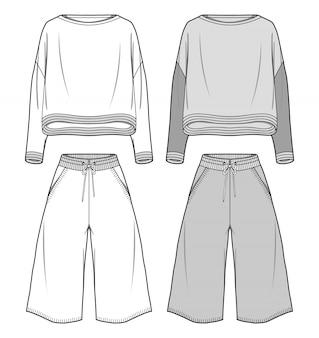 Sweater set fashion flat sketche template