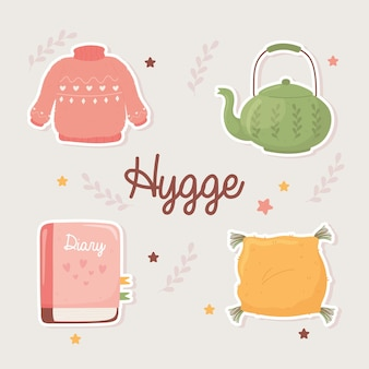 Sweater teapot book and cushion, cartoon hygge style illustration