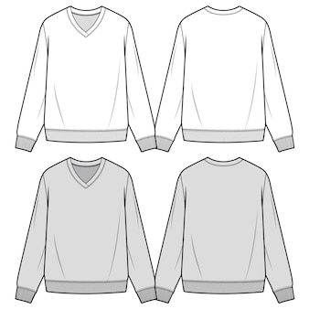 Sweater top fashion flat sketche template
