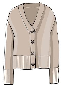 ボタンと袖のセーター服ニットウェア