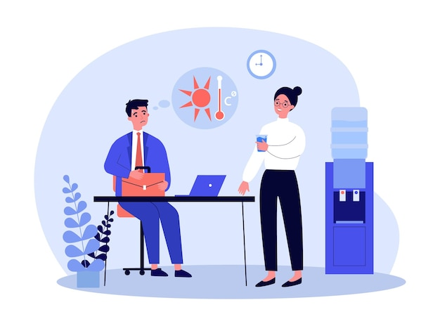 Sweating cartoon businessman working in office in hot weather. female worker drinking water from cooler flat vector illustration. summer, climate concept for banner, website design or landing web page