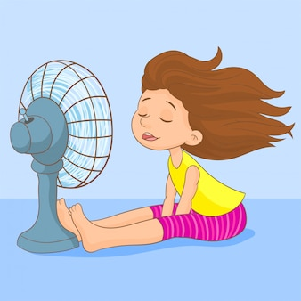 Sweating girl cooling herself with a fan