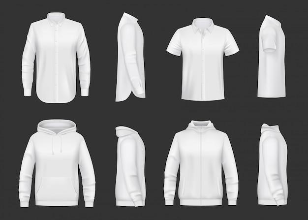 Толстовка, толстовка с капюшоном и реалистичный макет рубашки