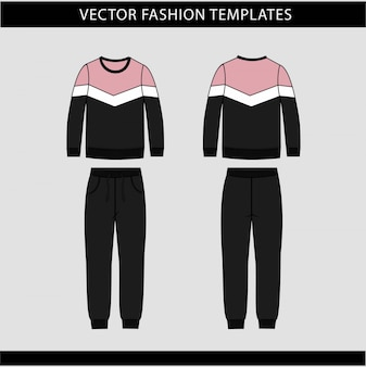Sweatshirt and pants fashion flat sketch template, jogging outfit front and back, sport wear outfit