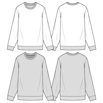 Sweatshirts fashion flat sketch template
