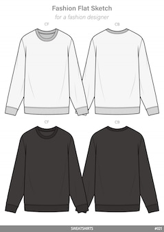 Sweatshirts fashion flat technical drawing template