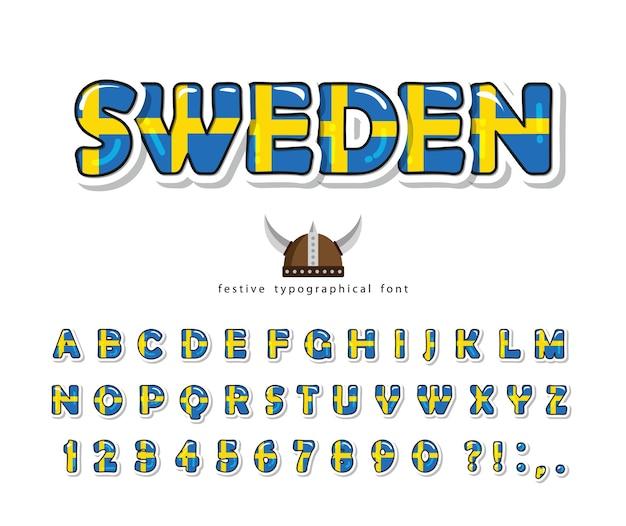 Sweden cartoon font. swedish national flag