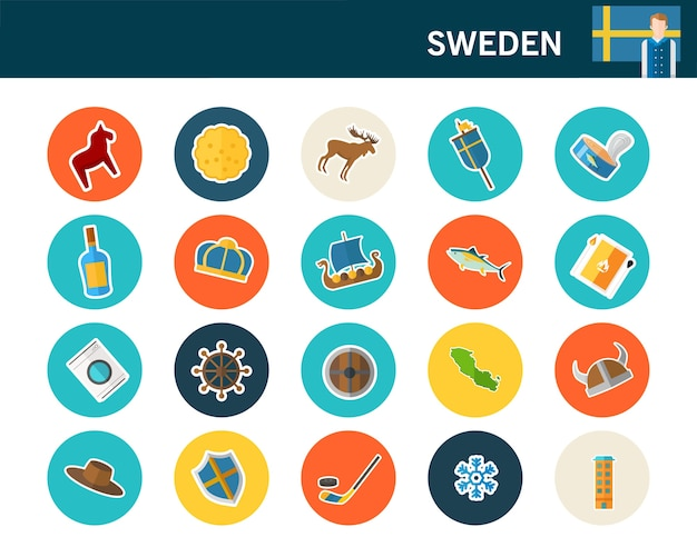 スウェーデンのコンセプトフラットアイコン