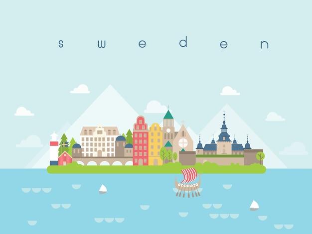 Sweden famous landmarks infographic