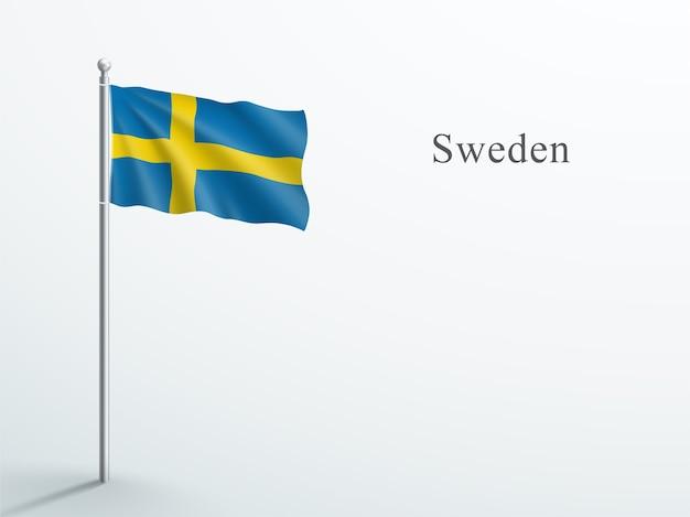 Sweden flag 3d element waving on steel flagpole