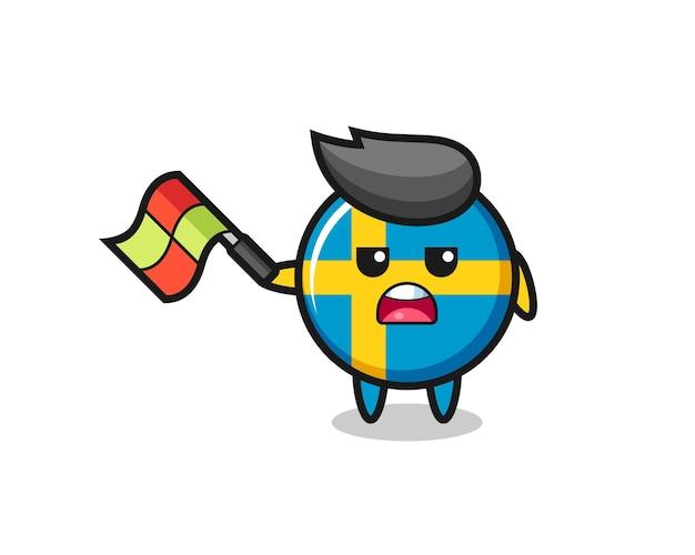 라인 판사로서의 스웨덴 국기 배지 만화는 45도 각도로 깃발을 들고 티셔츠, 스티커, 로고 요소를 위한 귀여운 스타일 디자인