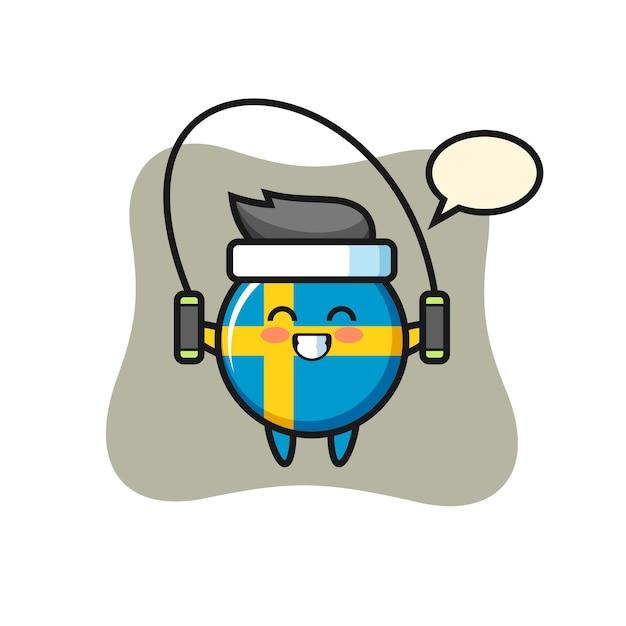 밧줄을 건너뛰는 스웨덴 국기 배지 캐릭터 만화, 티셔츠, 스티커, 로고 요소를 위한 귀여운 스타일 디자인