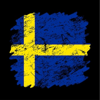 Sweden flag grunge brush background. old brush flag vector illustration. abstract concept of national background.