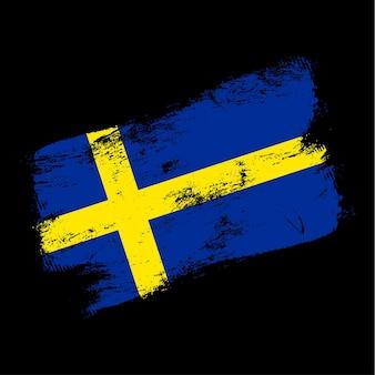 Флаг швеции гранж кисть-фон. старый флаг кисти векторные иллюстрации. абстрактное понятие национального фона.