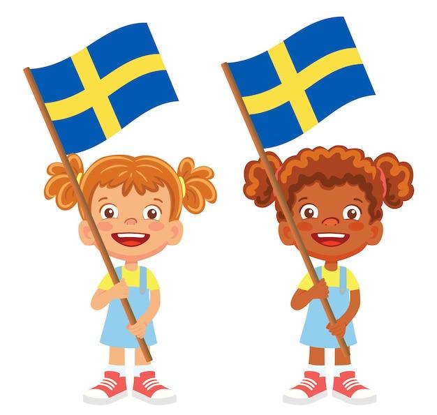 Флаг швеции в руке. дети держат флаг. национальный флаг швеции вектор