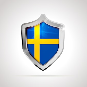 Sweden flag projected as a glossy shield