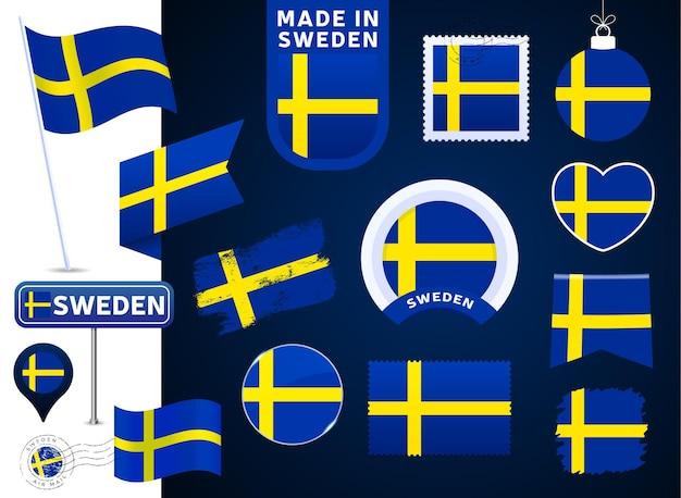 스웨덴 국기 벡터 컬렉션입니다. 평평한 스타일의 공휴일과 공휴일을 위한 다양한 모양의 국기 디자인 요소의 큰 집합입니다. 소인, 만든, 사랑, 원, 도로 표지판, 파