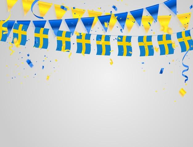 Sweden flags celebration background