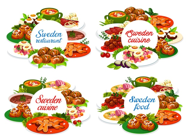 Sweden food round banners salmonor pea soup