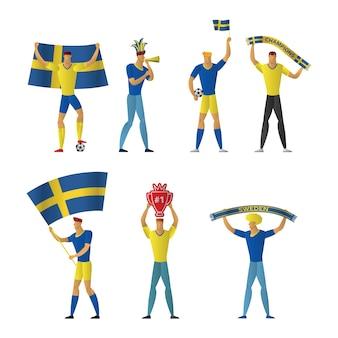Sweden football fans cheerful soccer