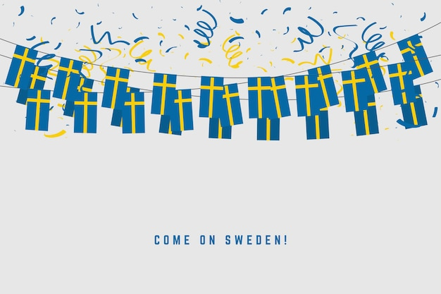Sweden garland flag with confetti on gray background.
