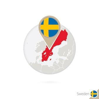 스웨덴 지도 및 원 안에 플래그입니다. 스웨덴의 지도, 스웨덴 플래그 핀입니다. 세계 스타일의 스웨덴 지도. 벡터 일러스트 레이 션.