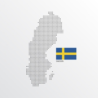 Sweden map design with flag and light background vector