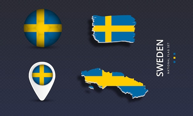 스웨덴 국가 웨이브 플래그 세트