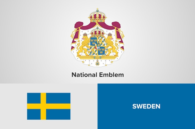 Sweden national emblem flag template