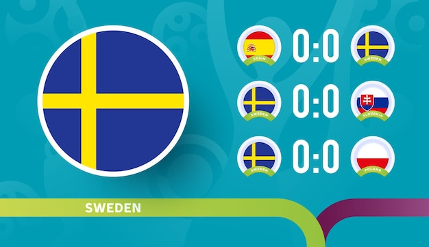 2020년 축구 선수권 대회 결승전에서 스웨덴 대표팀 일정 경기