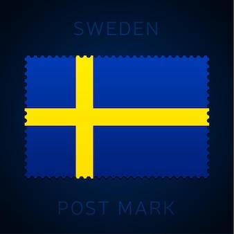스웨덴 우표. 국기 우표 흰색 배경 벡터 일러스트 레이 션에 고립입니다. 공식 국가 국기 패턴과 국가 이름이 있는 스탬프 프리미엄 벡터