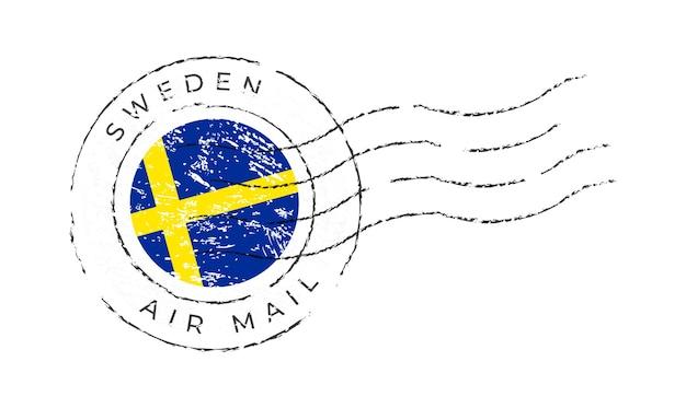 스웨덴 우표. 국기 우표 흰색 배경 벡터 일러스트 레이 션에 고립입니다. 공식 국가 국기 패턴과 국가 이름이 있는 스탬프