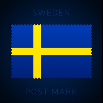 Sweden postage mark. national flag postage stamp isolated on white background vector illustration. stamp with official country flag pattern and countries name