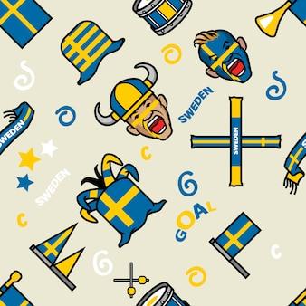 Sweden soccer supporter gear seamless pattern