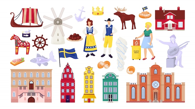 Sweden symbols set with stockholm city buildings, sightseeings and landmarks, swedes people  illustrations. scandinavian culture, nordic ship, map and flag, travel souvenirs.