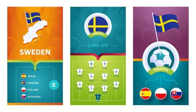 ソーシャルメディアのために設定されたスウェーデンチームヨーロッパサッカー垂直バナー。等角図、ピンフラグ、試合スケジュール、サッカー場のラインナップが記載されたスウェーデンのグループeバナー