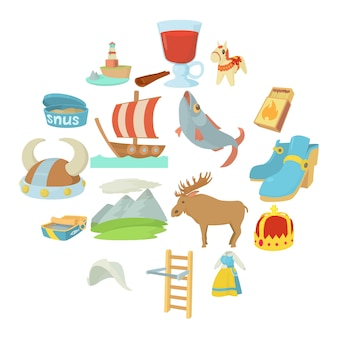 Sweden travel symbols icons set, cartoon style