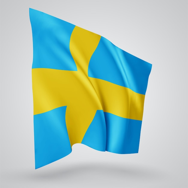 スウェーデン、白い背景の上の風に手を振る波と曲がりのベクトルフラグ。