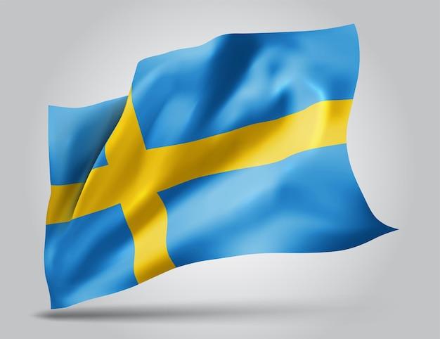 Швеция, векторный флаг с волнами и изгибами, развевающимися на ветру на белом фоне.