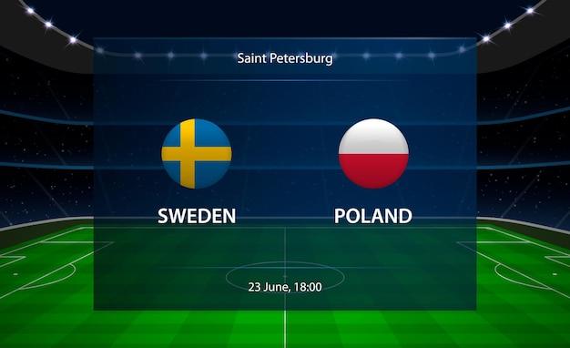스웨덴 vs 폴란드 축구 스코어 보드.