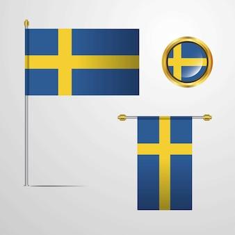 Sweden waving flag design with badge vector