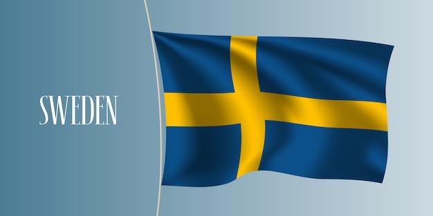 Sweden waving flag. iconic design element as a national swedish flag