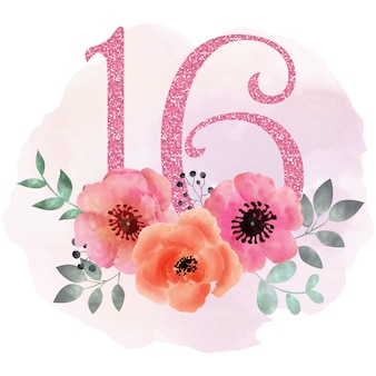 Sweet 16 floral background