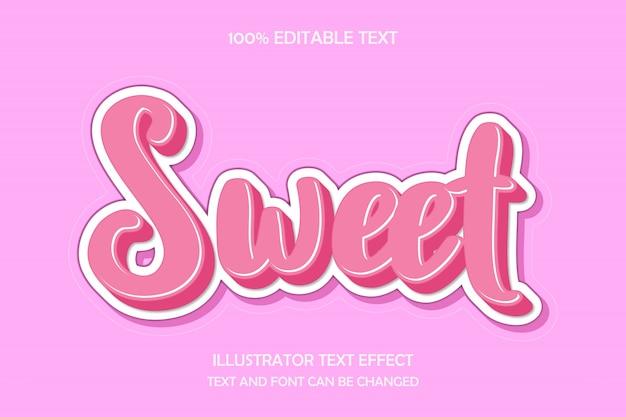 달콤한, 3d 편집 가능한 텍스트 효과 현대 귀여운 스타일