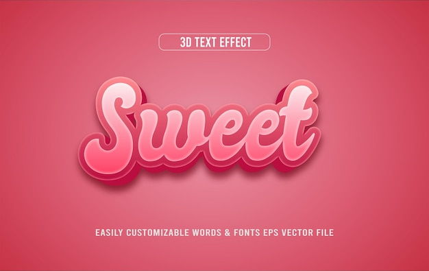 Sweet 3d editable text effect style