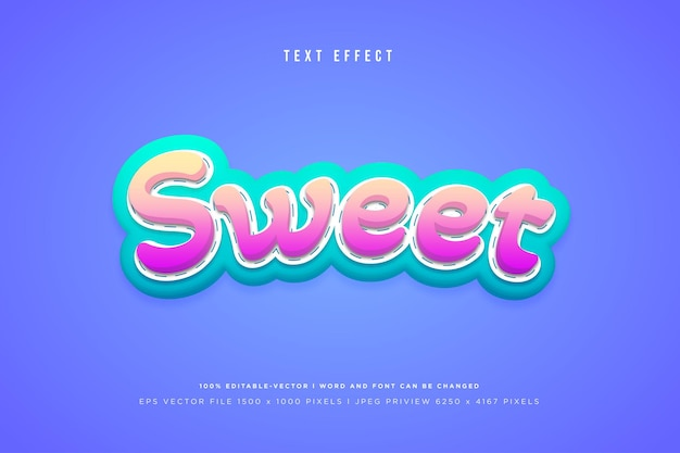 Sweet 3d text effect on purple background