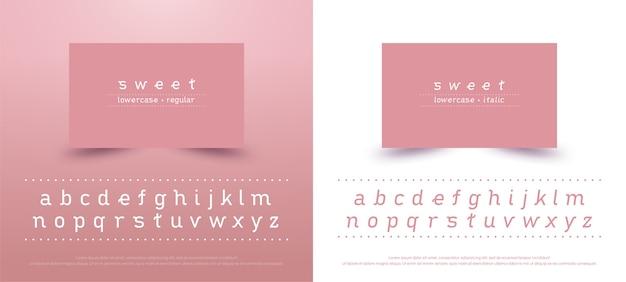달콤한 알파벳 소문자 글꼴입니다. 타이포그래피 클래식 스타일 핑크 색상