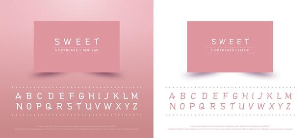 달콤한 알파벳 대문자 글꼴입니다. 타이포그래피 클래식 스타일 핑크 색상