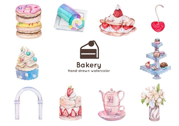 Сладкие и пекарни тема акварельные иллюстрации